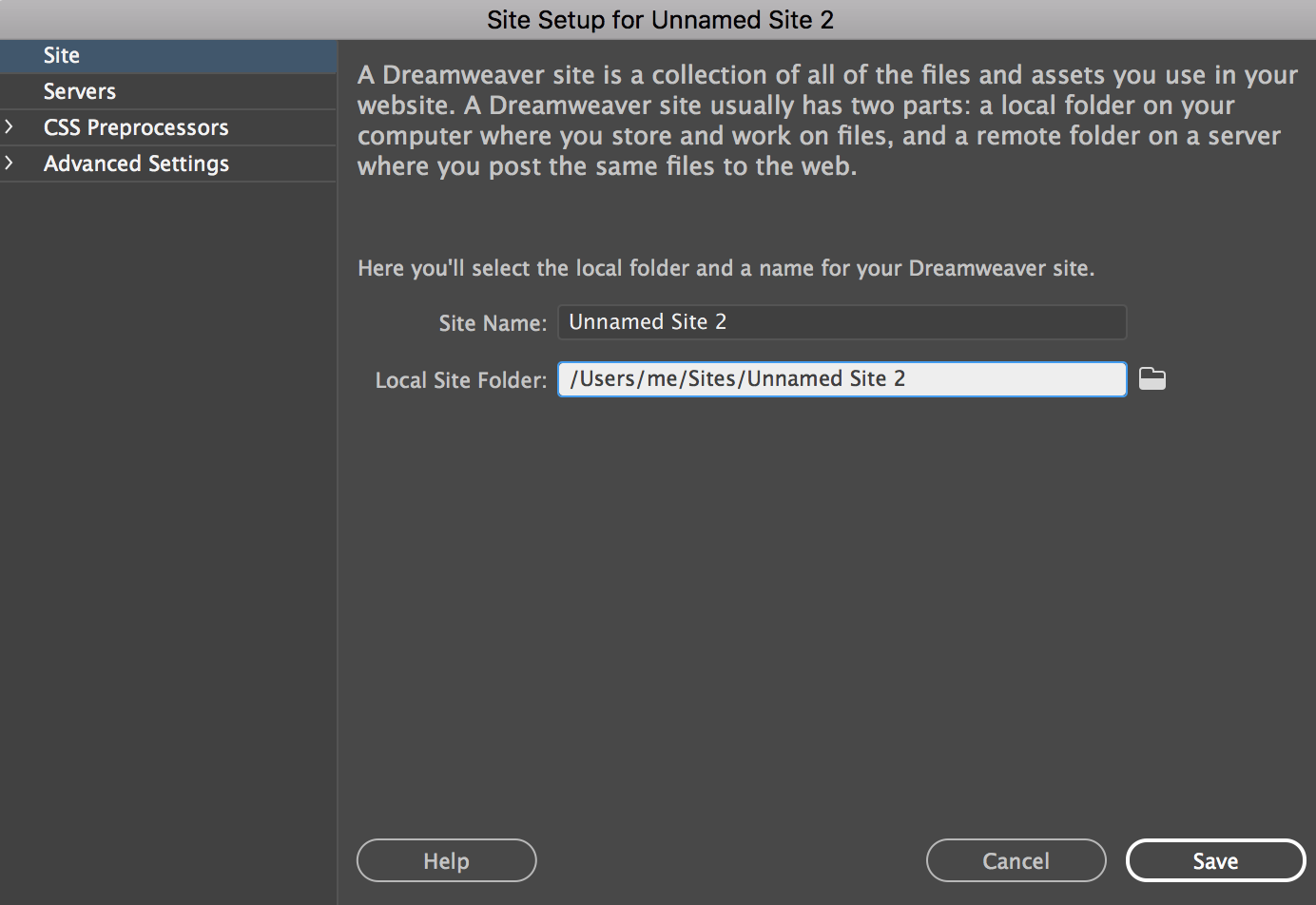 Adding a new site in dreamweaver