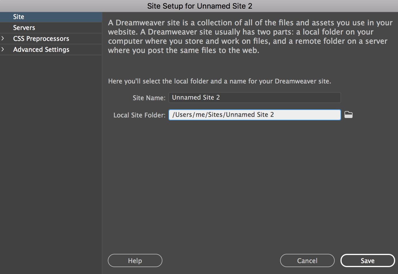 Adding a new site in dreamweaver