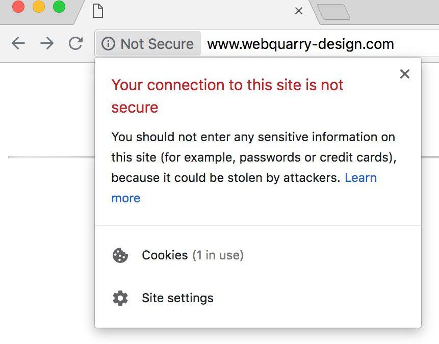 Google Chrome 68 Website Not Secure Warning - Webquarry