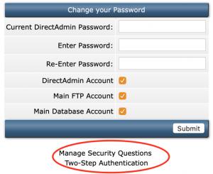 screen shot of password options