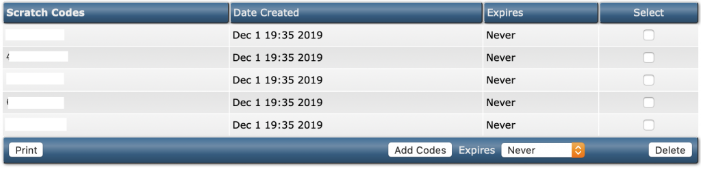 screenshot of scratch codes