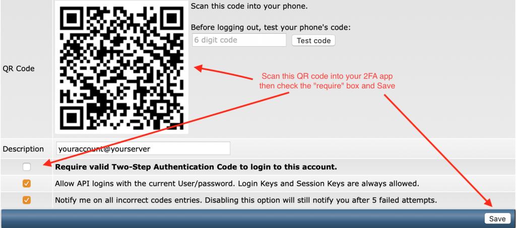 Screenshot of QR code