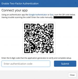 screen shot of sample QR code