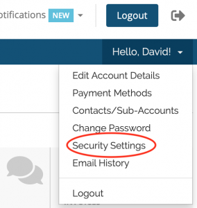 screen shot of pull down menu highlighting the security settings option