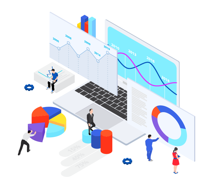isometric illustration for data analysis