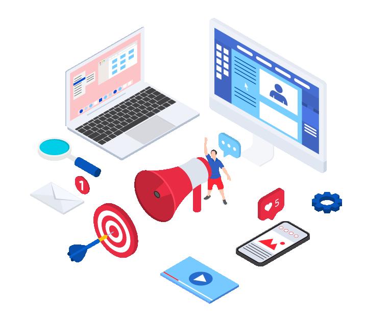 isometric illustration for digital marketing